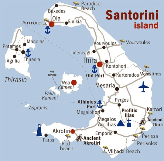 santorini boat tours map